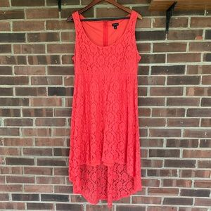 Torrid red lace high low sleeveless dress